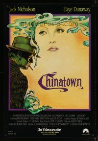 3f151 CHINATOWN video 1sh R90 art of Jack Nicholson & Faye Dunaway by Jim Pearsall, Roman Polanski