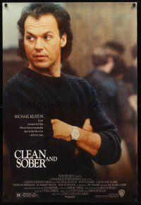 3f156 CLEAN & SOBER 1sh '88 former drug addict Michael Keaton kicks the habit!