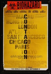 3f164 CONTAGION advance DS 1sh '11 Soderbergh, Cotillard, Damon, Fishburn, cool list of cities!