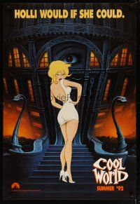3f165 COOL WORLD teaser 1sh '92 cartoon art of sexy Kim Basinger as Holli!