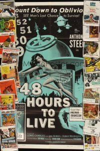 3g016 LOT OF 44 FOLDED ONE-SHEETS '50s-60s 48 Hours to Live, These Are The Damned & many more!