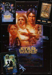 3g150 LOT OF 4 UNFOLDED DOUBLE-SIDED ONE-SHEETS FROM THE 1997 STAR WARS TRILOGY '97 Struzan art!