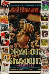 3g185 LOT OF 19 FORMERLY TRI-FOLDED KUNG FU ONE-SHEETS '70s-80s cool martial arts images!