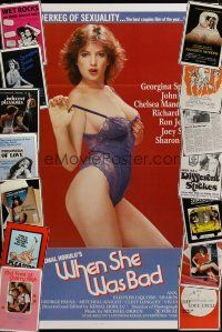 3g195 LOT OF 15 FORMERLY TRI-FOLDED ONE-SHEETS FROM SEXPLOITATION MOVIES '70s-80s sexy images!