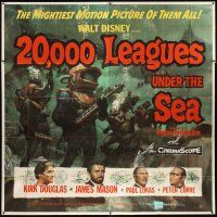 3m002 20,000 LEAGUES UNDER THE SEA 6sh '55 Jules Verne classic, wonderful art of deep sea divers!