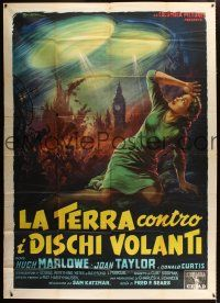 3m742 EARTH VS. THE FLYING SAUCERS Italian 2p '56 completely different sci-fi art by Ballester!