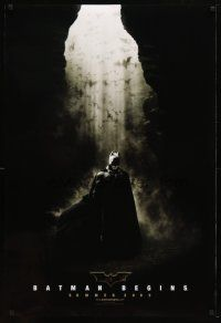 3p078 BATMAN BEGINS summer 2005 teaser DS 1sh '05 great image of Christian Bale in the batcave!
