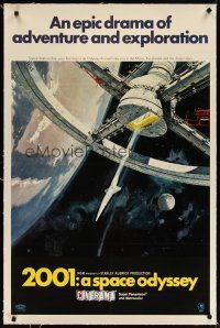 3r005 2001: A SPACE ODYSSEY linen Cinerama 1sh '68 Stanley Kubrick, space wheel art by Bob McCall!