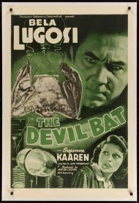 3r021 DEVIL BAT linen 1sh '40 super close up of creepy Bela Lugosi + laboratory art, sci-fi horror!