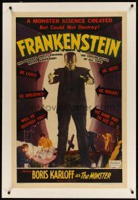 3r001 FRANKENSTEIN linen 1sh R51 great full-length image of Boris Karloff as the monster!