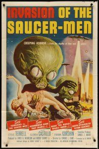 3r329 INVASION OF THE SAUCER MEN 1sh '57 classic Kallis art of cabbage head aliens & sexy girl!