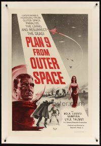 3r039 PLAN 9 FROM OUTER SPACE linen 1sh '58 directed by Ed Wood, arguably the worst movie ever!