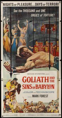 3s019 GOLIATH & THE SINS OF BABYLON 3sh '64 L'Eroe Piu Grande del Mondo, Mark Forest as Maciste!