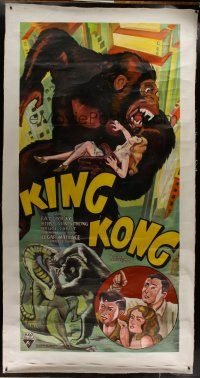3s010 KING KONG hand painted re-creation 3sh '90s art of the fierce ape holding Fay Wray!