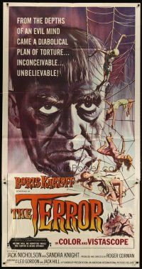 3s017 TERROR 3sh '63 art of Boris Karloff & girls in web by Reynold Brown, Roger Corman