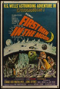 3s005 FIRST MEN IN THE MOON style Z 40x60 '64 Ray Harryhausen, H.G. Wells, fantastic sci-fi art!