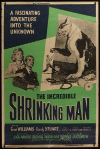 3s002 INCREDIBLE SHRINKING MAN 40x60 '57 sci-fi classic, tiny Grant Williams fighting giant cat!
