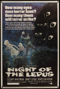 3s006 NIGHT OF THE LEPUS 40x60 '72 cool monster art, how many eyes does horror have!