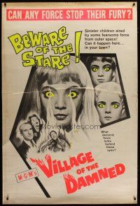 3s001 VILLAGE OF THE DAMNED 40x60 '60 cool completely different image, beware of the stare!