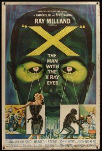 3s004 X: THE MAN WITH THE X-RAY EYES 40x60 '63 Ray Milland strips souls & bodies, cool sci-fi art!