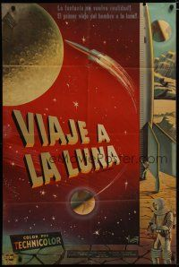 3s021 DESTINATION MOON Argentinean '50 Robert A. Heinlein, cool different Paciarotti artwork!