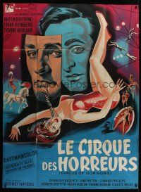 3s061 CIRCUS OF HORRORS French 1p '60 different Allard art of sexy trapeze girl hanging by neck!