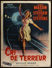 3s063 CRY TERROR French 1p '60 different art of Inger Stevens on train tracks by Roger Soubie!