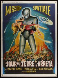 3s064 DAY THE EARTH STOOD STILL French 1p R60s different art of Gort holding sexy girl!