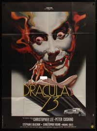 3s065 DRACULA A.D. 1972 French 1p '73 different Landi art of Christopher Lee & naked ladies!
