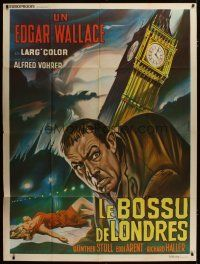 3s067 HUNCHBACK OF SOHO French 1p '66 cool Casaro art of the disfigured man by Big Ben in London!