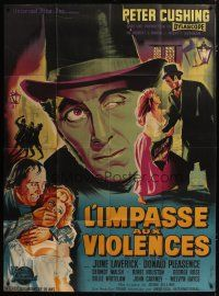 3s069 MANIA French 1p '60 The Flesh and the Fiends, different Belinky art of Peter Cushing!