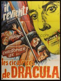 3s071 SCARS OF DRACULA French 1p '70 c/u art of bloody vampire Christopher Lee, Hammer horror!