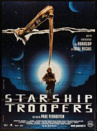 3s072 STARSHIP TROOPERS French 1p '97 Paul Verhoeven, Robert A. Heinlein, completely different!