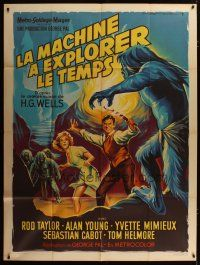 3s073 TIME MACHINE French 1p '60 H.G. Wells, George Pal, wonderful art by Roger Soubie!