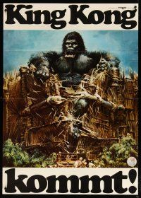 3s075 KING KONG German 33x47 teaser '76 John Berkey art of BIG Ape destroying huge barrier!