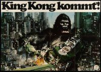3s074 KING KONG German 33x47 '76 John Berkey art of BIG Ape destroying train in city!