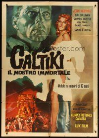 3s031 CALTIKI THE IMMORTAL MONSTER Italian 1p '59 different Volcarenghi art of sexy girl!