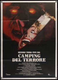 3s032 CAMPING DEL TERRORE Italian 1p '86 cool art of monster & screaming girl on knife reflection!