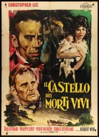 3s033 CASTLE OF THE LIVING DEAD Italian 1p '64 Olivetti horror art of Christopher Lee!