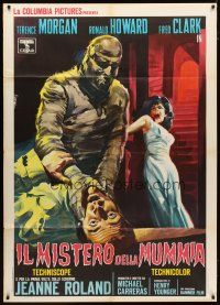 3s036 CURSE OF THE MUMMY'S TOMB Italian 1p '64 cool different Piovano art of monster attacking!