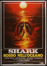 3s040 DEVIL FISH Italian 1p '84 Lamberto Bava's Shark: Rosso nell'oceano, monster art by Sciotti!