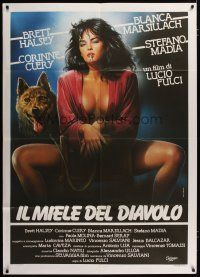 3s041 DEVIL'S HONEY Italian 1p '88 Lucio Fulci, different art of half-naked girl with wolf!