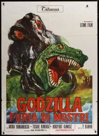 3s043 GODZILLA VS. THE SMOG MONSTER Italian 1p '72 Gojira tai Hedora, cool different monster art!