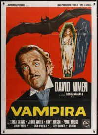 3s047 OLD DRACULA Italian 1p '75 Vampira, David Niven as the Count, different horror art!