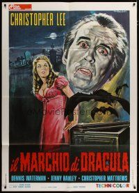 3s050 SCARS OF DRACULA Italian 1p '70 Tarantelli art of vampire Christopher Lee, Hammer horror!