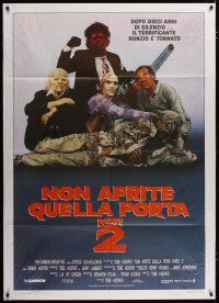 3s051 TEXAS CHAINSAW MASSACRE PART 2 Italian 1p '86 Tobe Hooper horror sequel, great cast portrait!