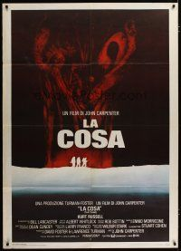3s052 THING Italian 1p '82 John Carpenter, cool sci-fi horror art, the ultimate in alien terror!