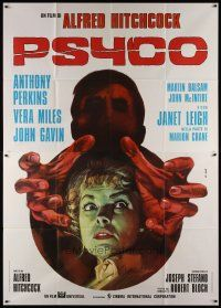 3s056 PSYCHO Italian 2p R70s different Iaia art of Janet Leigh & Anthony Perkins, Alfred Hitchcock