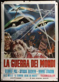 3s029 WAR OF THE WORLDS Italian 2p R73 wonderful artwork better than the original!