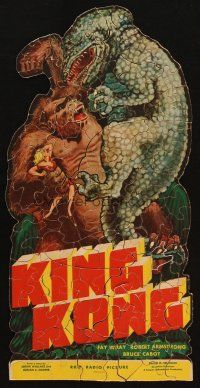 3s011 KING KONG jigsaw puzzle '33 150 pieces, great image of Kong holding Wray & fighting dinosaur!